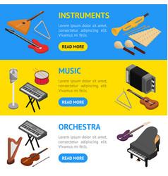 music instruments banner horizontal set isometric vector image vector image
