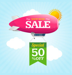 sale concept labels with airship vector image