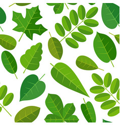 seamless pattern leafs flat color vector image vector image