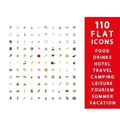 110 flat icons vector