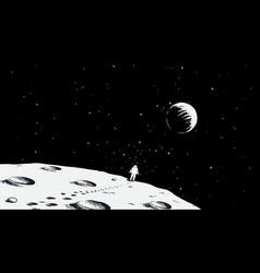 astronaut walking on moon vector image vector image