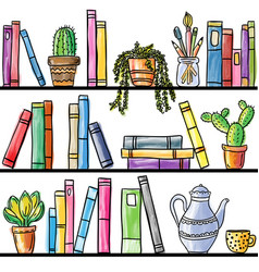 book shelf seamless pattern vector image