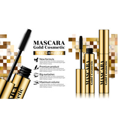 gold mascara brush eyelash fashion makeup for eye vector image