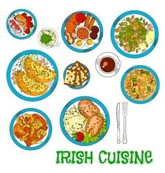 Irish national cuisine dishes set vector image vector image