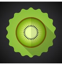 Kiwi Fruit Flat Icon with long shadow vector image