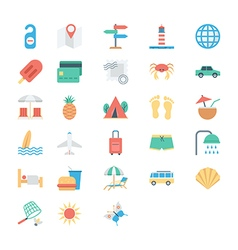 Summer and Holidays Colored Icons 2 vector image vector image