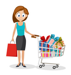 a young woman bought a full trolley of gifts on a vector image