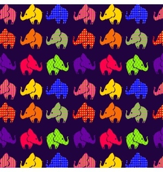Abstract seamless pattern with elephants on violet vector image