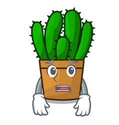 Afraid spurge cactus plant isolated on mascot vector