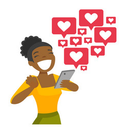 African-american woman getting social media likes vector