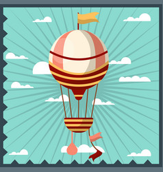Airballoon isolated in sky colorful card vector