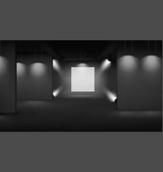 Art gallery empty interior with banner in center vector