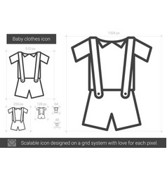 Baby clothes line icon vector