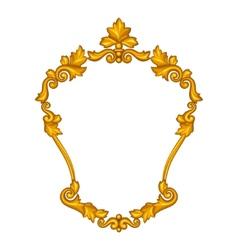 Baroque ornamental antique gold frame on white vector