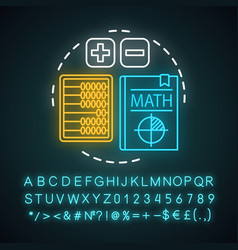 Basic maths lesson neon light concept icon vector