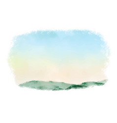 beautiful sunrise mountain landscape watercolor vector image
