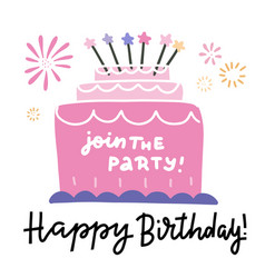 big bday cake and happy birthday phrase lettering vector image