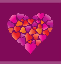Big beautiful heart made of hearts vector