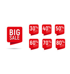 big sale discount red tags with percents vector image