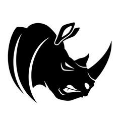 Black rhinoceros sign vector