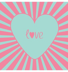 Blue heart with sunburst Love card vector