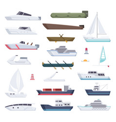 Boats water sea or ocean vessel small and big vector