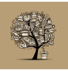 Book tree sketch for your design vector image