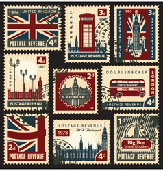 British postage stamps vector