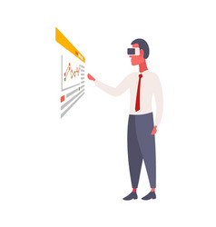 businessman wear vr glasses using futuristic vector image
