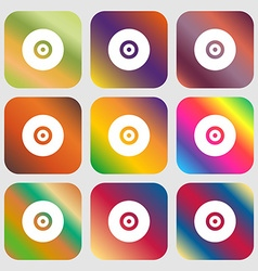 CD or DVD icon Nine buttons with bright gradients vector