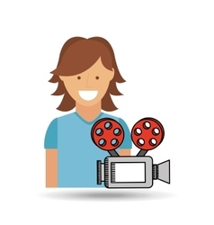 cheerful girl conecpt cinema camera icon design vector image