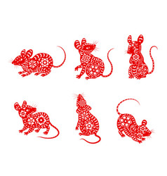 Chinese zodiac animal mouse or rat icons vector
