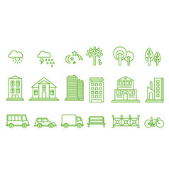City icons set buildings transport trees vector
