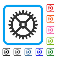 clock gear framed icon vector image