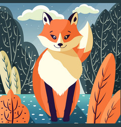 colorful portrait cute red fox in forest vector image
