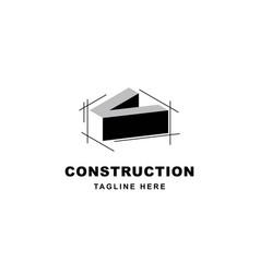 construction logo design with letter v shape icon vector image