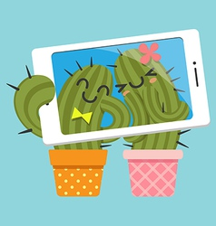 couple of cactus taking selfie vector image