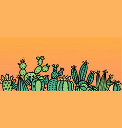 cute cactus doodle background mix vector image