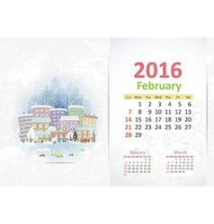 Cute sweet cityscape calendar for 2016 February vector image