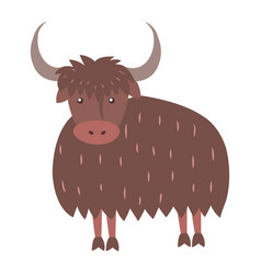 cute yak cartoon flat sticker or icon vector image