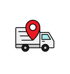 Delivery truck pin location icon shipment vector