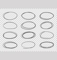 doodle circles hand drawn ellipse circular vector image