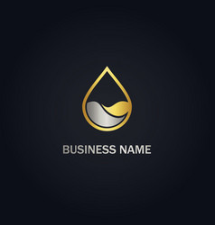 Droplet water nature gold logo vector