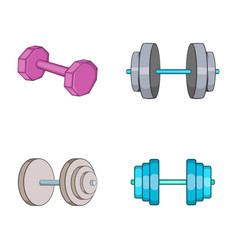 Dumb bells icon set cartoon style vector