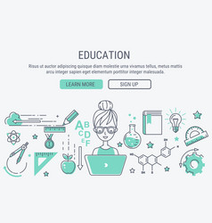 education and learning line art modern vector image