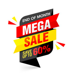 End of month mega sale banner vector