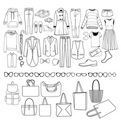fashion collection of clothes female and male vector image