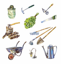 Garden or garage instruments or tools watercolor vector
