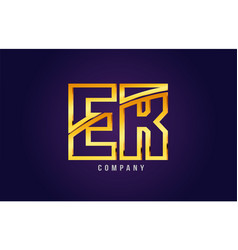 gold golden alphabet letter er e r logo vector image