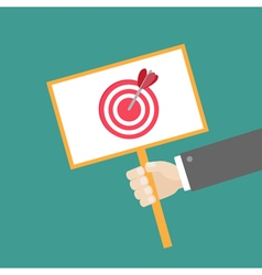 Hand businessman holding target card Flat vector